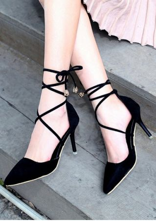 Solid Ankle-Wrap Pointed Toe Heels