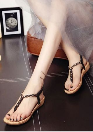 Beading Flip Flop Elastic Band Flat Sandals