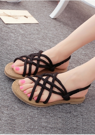 Hemp Rope Cross-Strap Sandals
