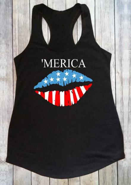 'Merica American Flag Lips Tank