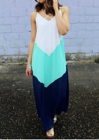 Color Block Criss-Cross Maxi Dress