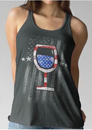 American Flag Wine Glass Tank