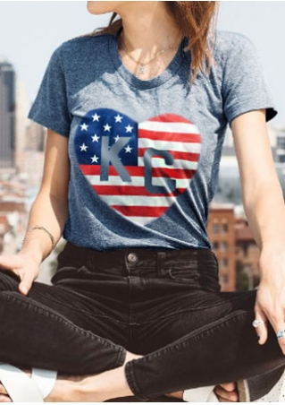 American Flag Heart KC T-Shirt without Necklace