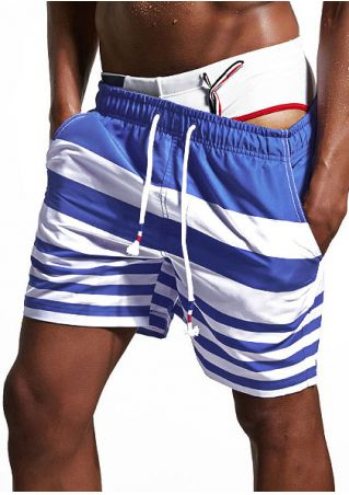 Striped Splicing Drawstring Pocket Shorts