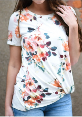 Floral O-Neck Short Sleeve T-Shirt