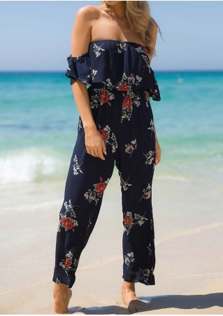 Floral Layered Off Shoulder Jumpsuit