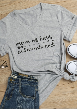 Mom Of Boys Outnumbered Arrow T-Shirt