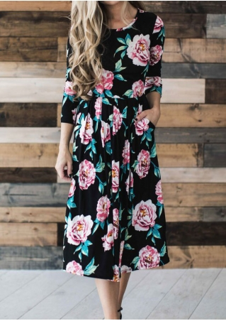 Floral Ruffled Pocket Casual Dress