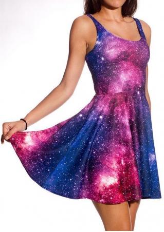 Starry Sky Printed Sleeveless Mini Dress