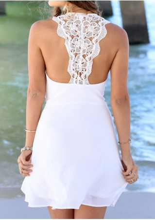 Solid Lace Floral Backless Mini Dress without Necklace