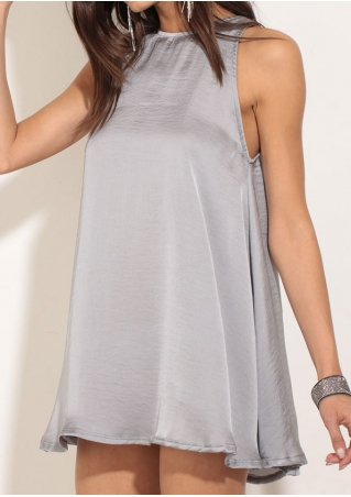 Solid Hollow Out Tie Mini Dress