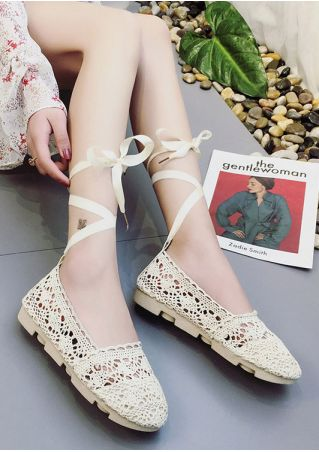 Knitted Hollow Out Lace Up Flats