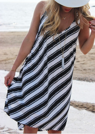 Striped V-Neck Casual Dress without Necklace