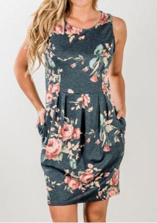 Floral Draped Sleeveless Mini Dress