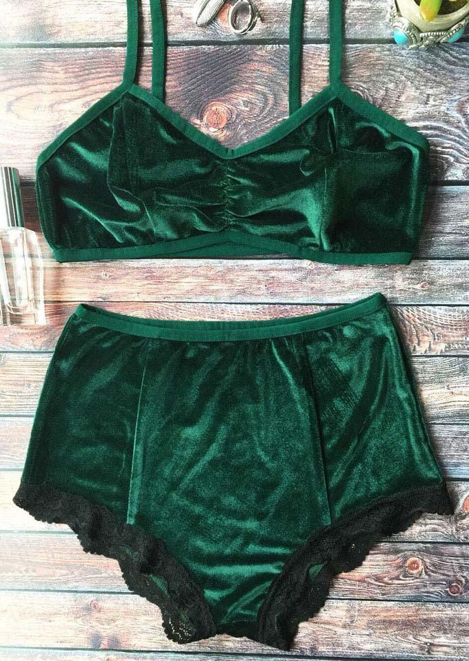 Silk Velvet Lace Splicing Bra and Panties Set