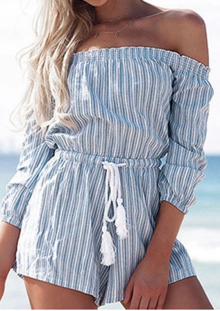Striped Drawstring Off Shoulder Romper without Necklace