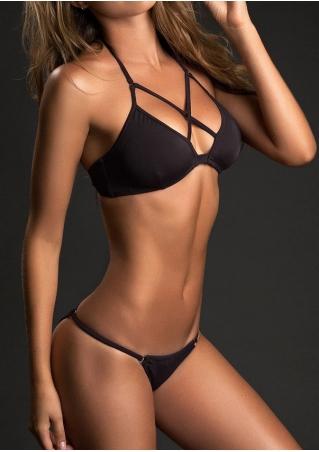 Solid Criss-Cross Halter Bikini Set