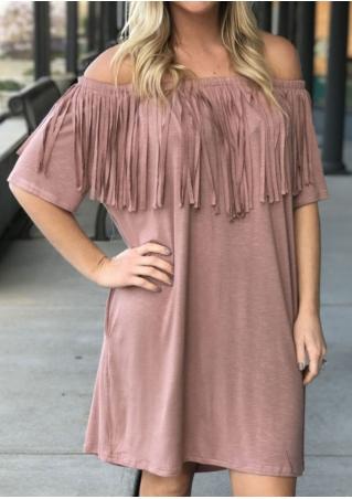 Solid Tassel Off Shoulder Mini Dress
