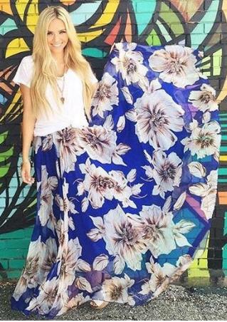 Floral A-Line Long Skirt