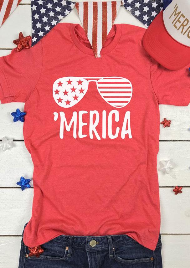 'Merica Glasses Short Sleeve T-Shirt