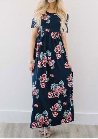 Floral Short Sleeve O-Neck Maxi Dress
