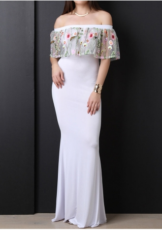 Embroider Mesh Splicing Maxi Dress without Necklace