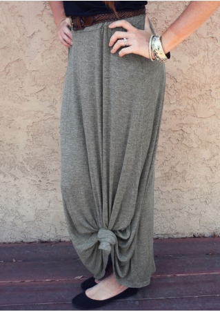 Solid Knot Casual Skirt