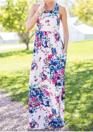 Floral Sleeveless Racerback Maxi Dress