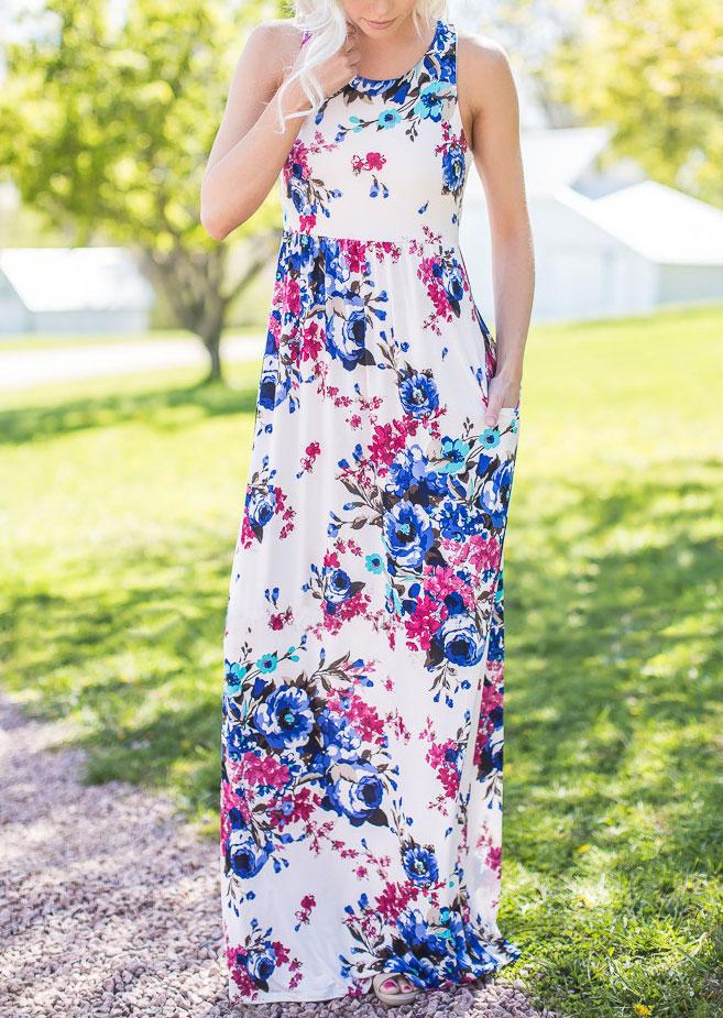 Floral Sleeveless Racerback Maxi Dress 126896
