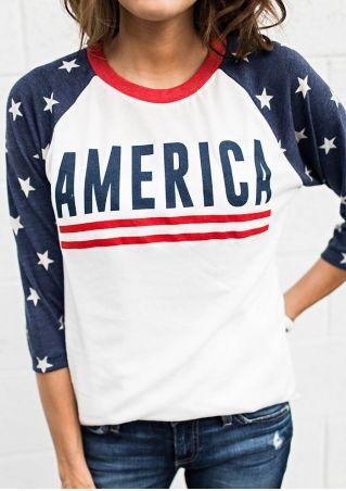 America Star O-Neck Baseball T-Shirt