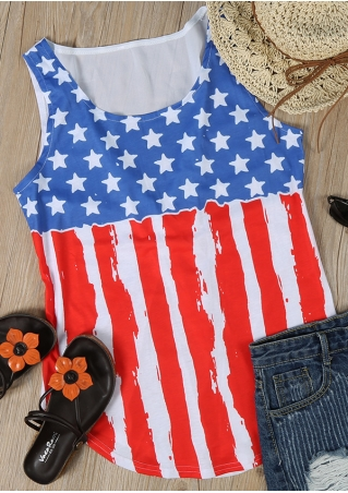 American Flag Printed Tank without Necklace