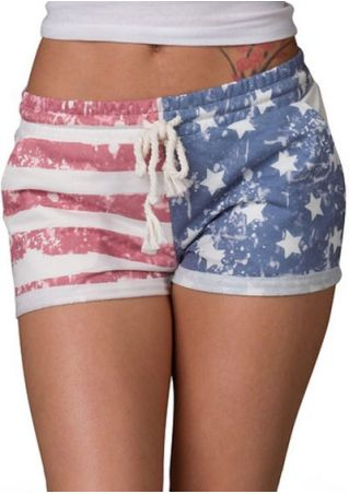 American Flag Star Striped Drawstring Shorts