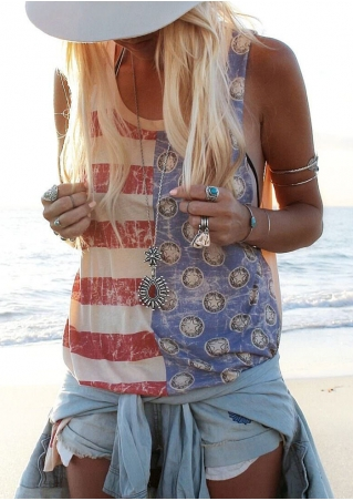 Striped Star Splicing Tank without Necklace