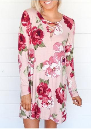 Floral Criss-Cross Long Sleeve Mini Dress