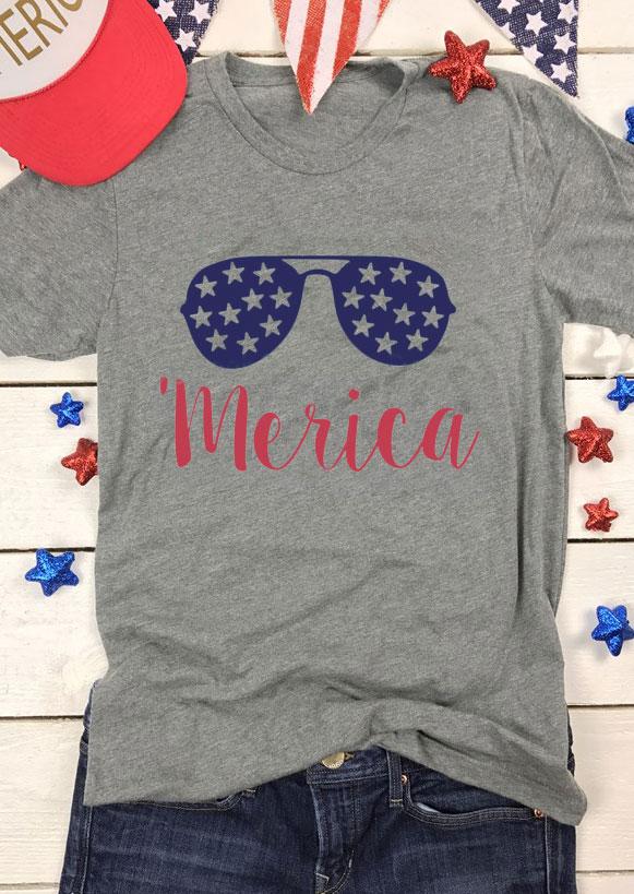 'Merica Star Glasses O-Neck T-Shirt