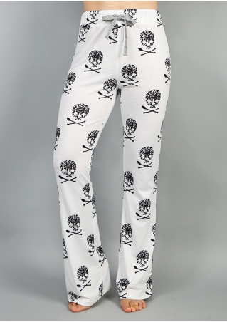 Skull Printed Drawstring Pants