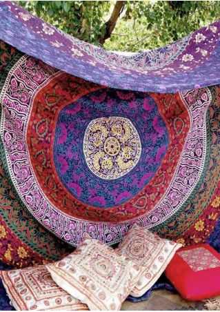 Mandala Multicolor Printed Rectangle Tapestry