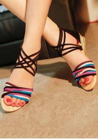 Multicolor Zipper Cross-Strap Sandals