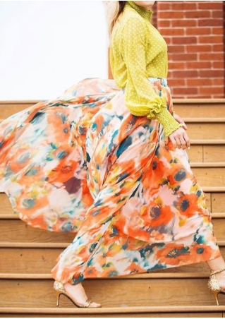 Floral A-Line Casual Long Skirt