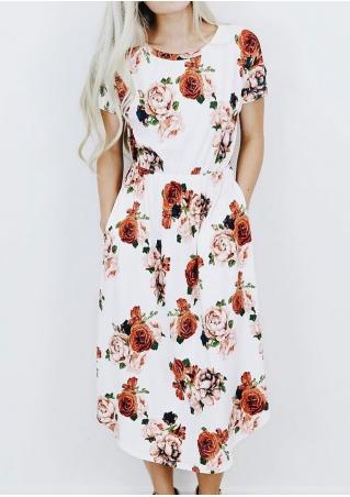 Floral Pocket Short Sleeve Casual Dress