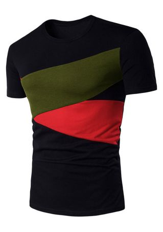 Color Block Splicing Short Sleeve T-Shirt