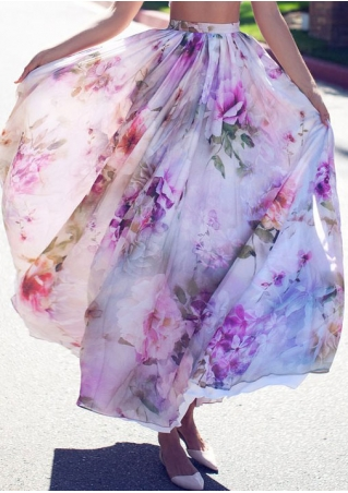 Floral Ruffled Maxi Skirt