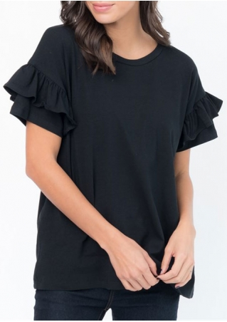 Solid Layered Short Sleeve Blouse
