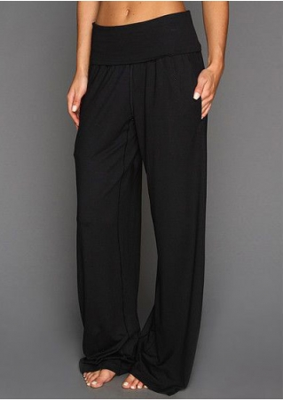 Solid Elastic Waist Wide Leg Pants