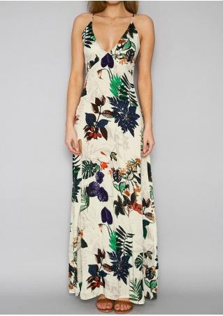 Floral Deep V-Neck Slit Spaghetti Strap Maxi Dress