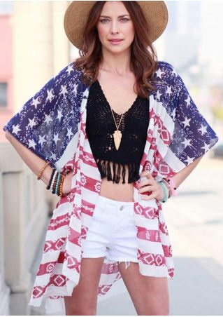 American Flag Star Printed Cardigan