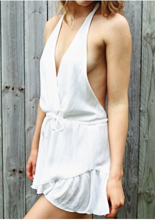 Solid Halter Backless Deep V-Neck Romper without Necklace