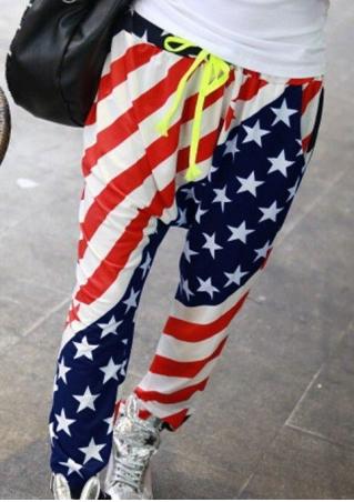 American Flag Drawstring Harem Pants