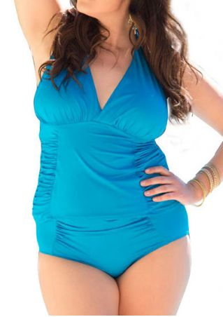 Solid Ruched Deep V-Neck Tankini
