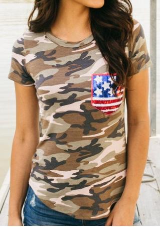 Camouflage American Flag Pocket T-Shirt